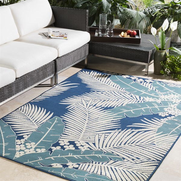 Navy, Slate, Ivory Outdoor / Indoor Area Rug