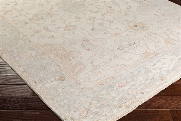 Ivory, Light Gray, Sea Foam, Gold Traditional / Oriental Area Rug