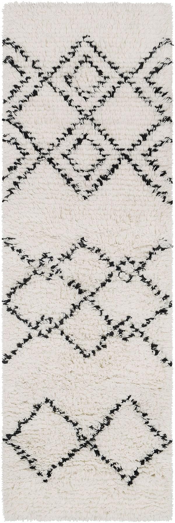 White, Camel Shag Area Rug