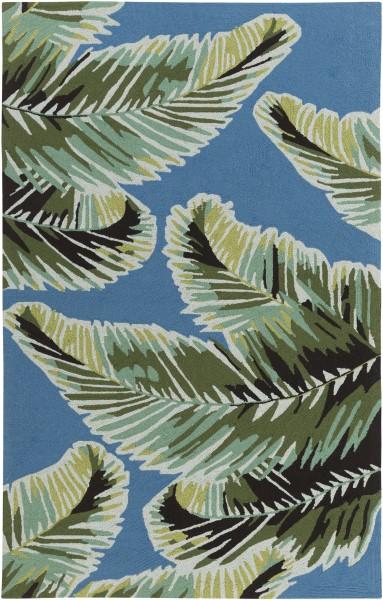 Dark Blue, Emerald, Lime, Black, Aqua Floral / Botanical Area Rug