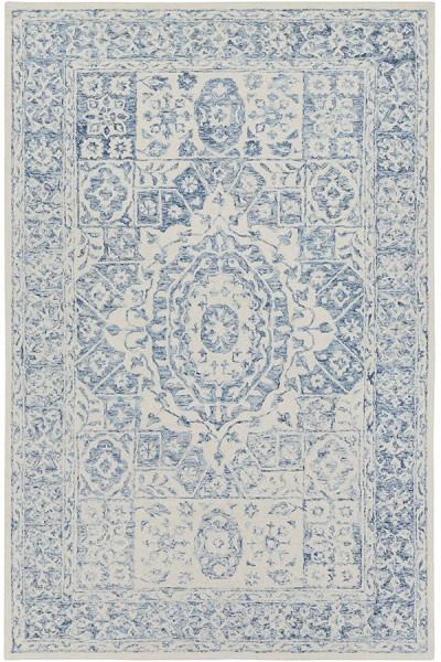 Pale Blue, White Traditional / Oriental Area Rug