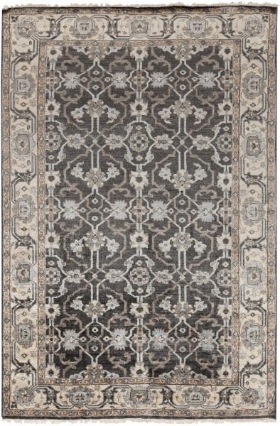Black, Medium Grey, Pale Blue Traditional / Oriental Area Rug