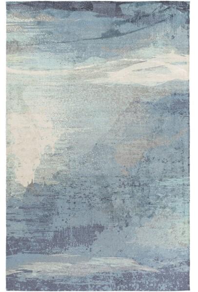 Sky Blue, Aqua, Navy Transitional Area Rug