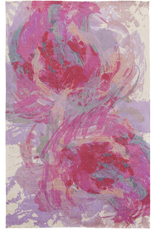 Hot Pink, Lavender, Teal, Peach Contemporary / Modern Area Rug