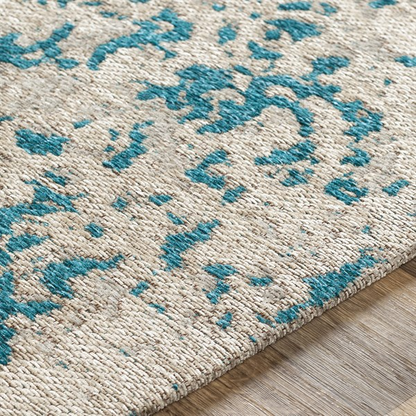 Teal Blue, Silver (EGT-3079) Abstract Area Rug
