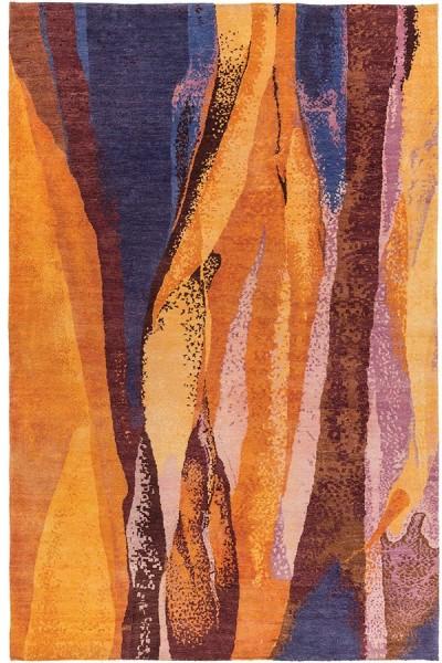 Burnt Orange, Dark Blue, Purple, Camel Contemporary / Modern Area Rug