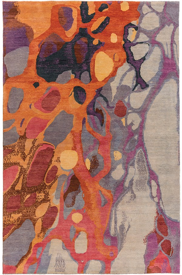 Dark Red, Rose, Light Gray, Navy, Wheat Contemporary / Modern Area Rug