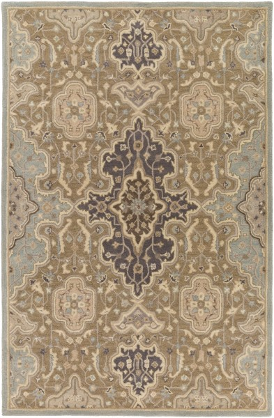 Taupe, Camel, Gray, Khaki Traditional / Oriental Area Rug