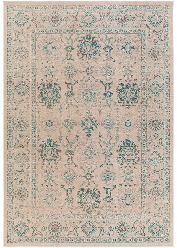 Teal, Medium Gray, Beige Traditional / Oriental Area Rug