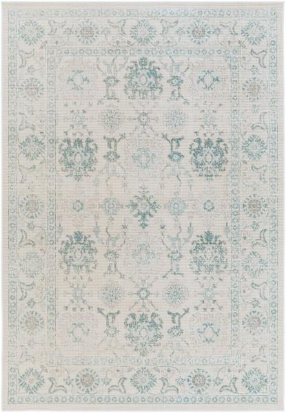 Teal, Medium Gray, Beige Traditional / Oriental Area Rug