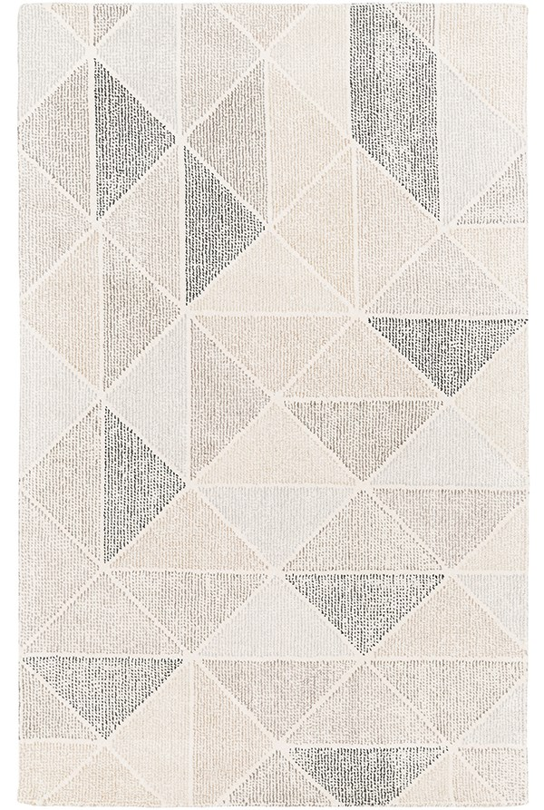 Medium Gray, Cream, Black, Charcoal, Camel Contemporary / Modern Area Rug
