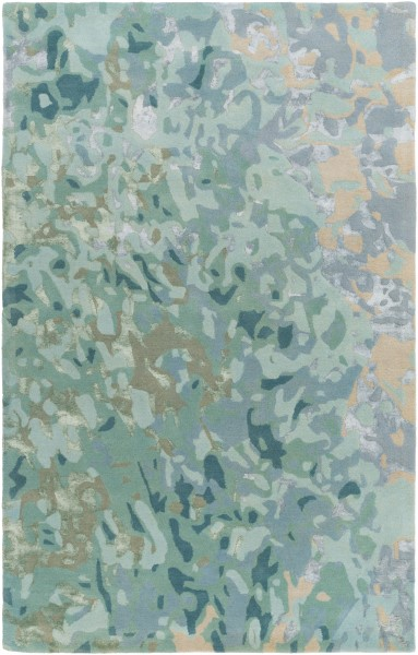 Teal, Ice Blue, Tan Transitional Area Rug
