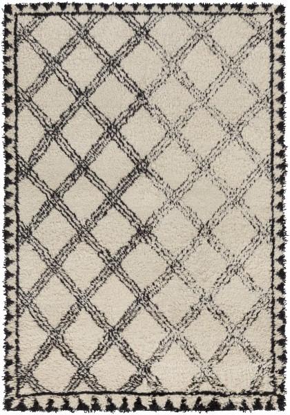 Ivory, Black Contemporary / Modern Area Rug