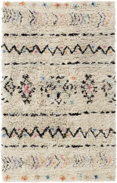 Cream, Black, Pink, Orange, Purple, Aqua Southwestern / Lodge Area Rug