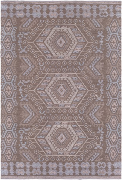 Medium Grey, Light Grey, Sky Blue (SAJ-1067) Outdoor / Indoor Area Rug