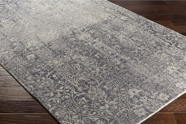 Medium Gray, Charcoal, Cream Traditional / Oriental Area Rug