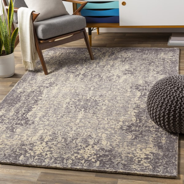 Medium Gray, Charcoal, Taupe, Cream Vintage / Overdyed Area Rug