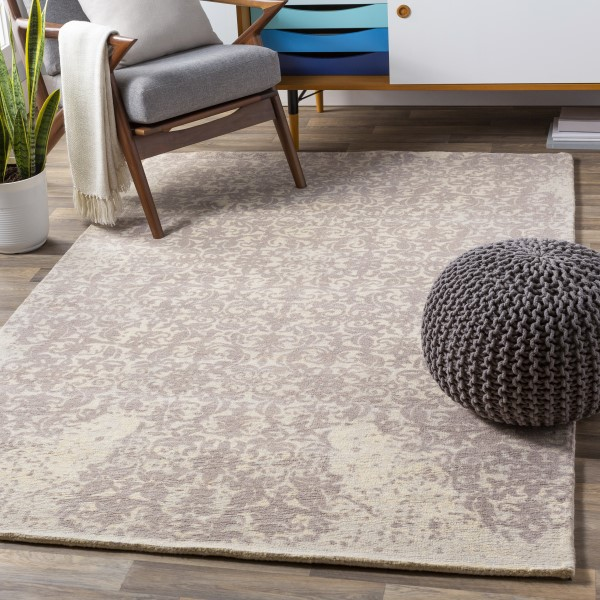 Cream, Pale Blue, Taupe Vintage / Overdyed Area Rug