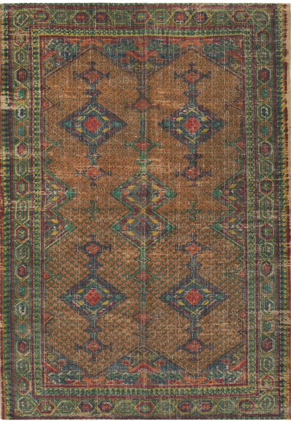 Khaki, Bright Orange, Emerald, Teal Traditional / Oriental Area Rug