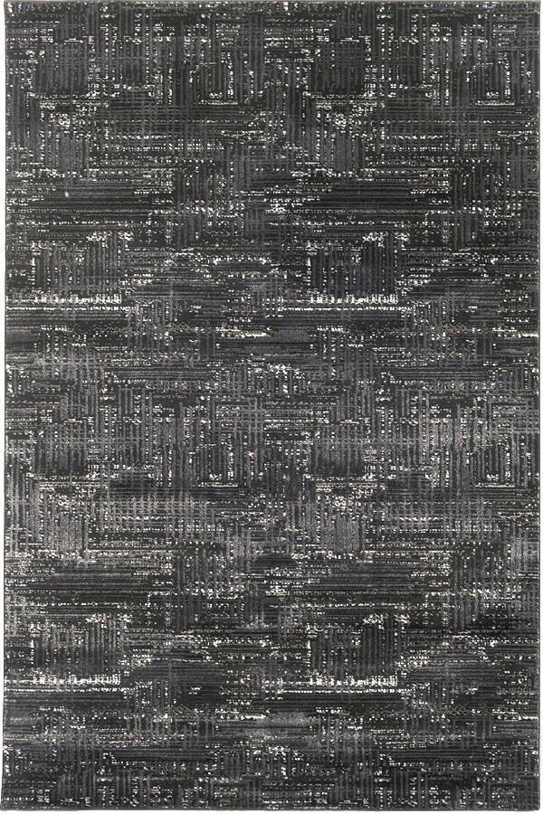 Black, Light Gray, White, Medium Gray Transitional Area Rug