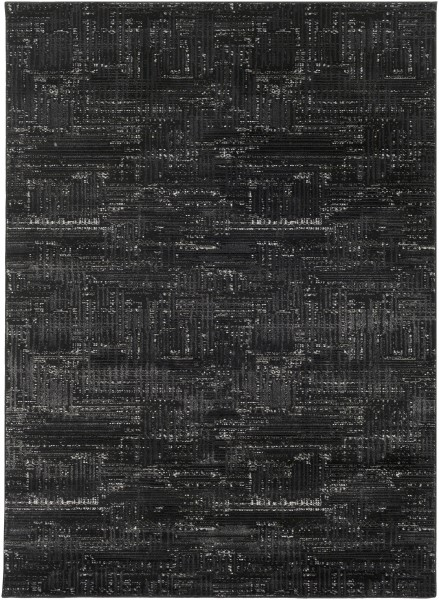 Black, Light Gray, White, Medium Gray Transitional Area Rug
