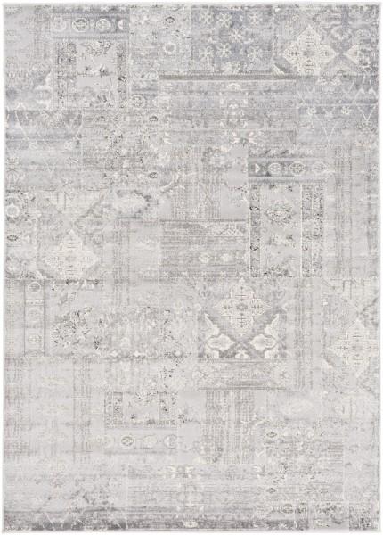 Silver, Medium Gray, White Vintage / Overdyed Area Rug