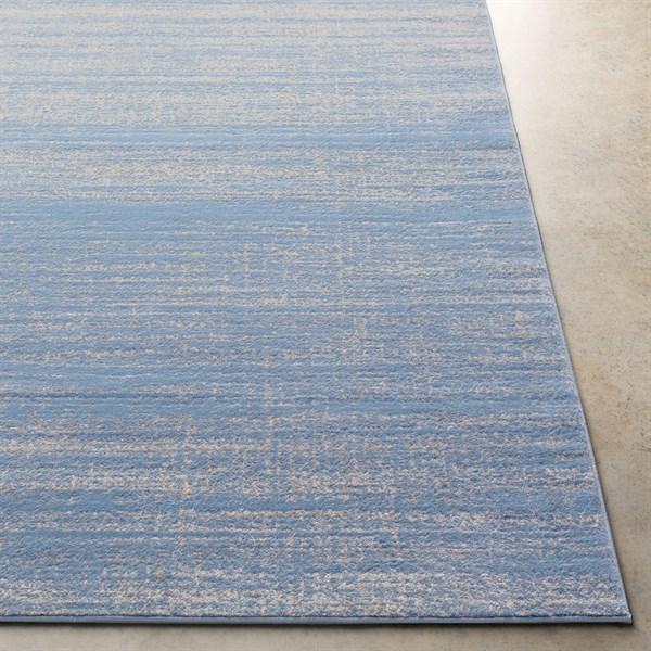 Bright Blue, Medium Gray Traditional / Oriental Area Rug