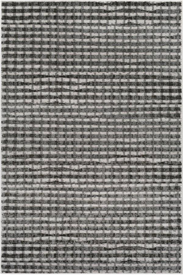 Light Gray, Black, White, Medium Gray Transitional Area Rug