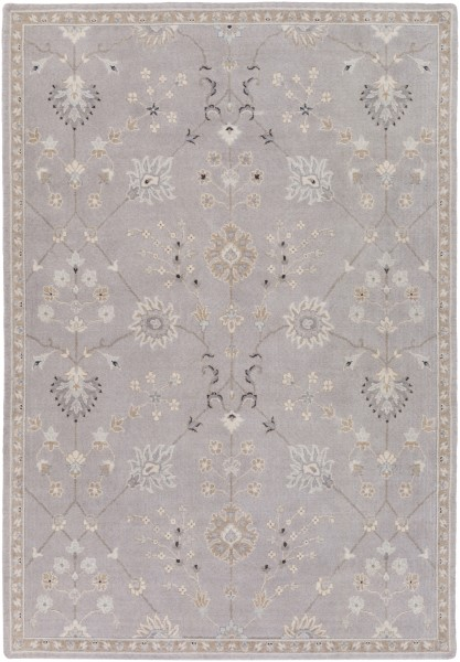 Medium Gray, Taupe, Pale Blue, White, Charcoal Traditional / Oriental Area Rug