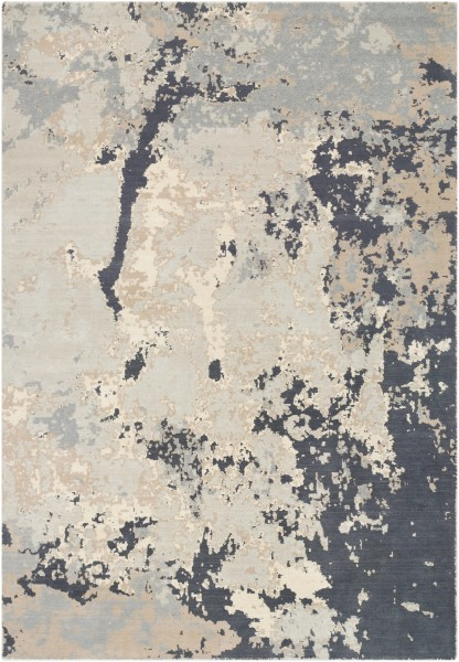 Khaki, Pale Blue, Light Gray, Taupe, Charcoal Contemporary / Modern Area Rug