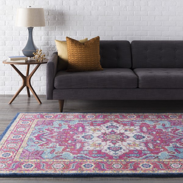Teal, Garnet, White Traditional / Oriental Area Rug