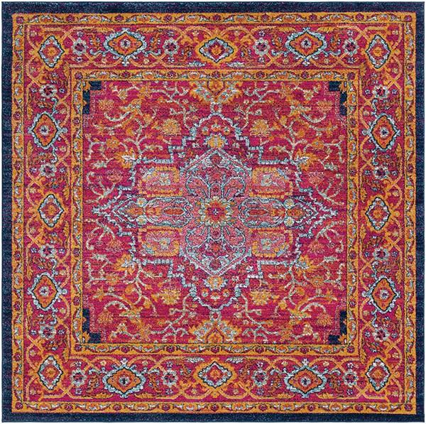 Garnet, Dark Blue, Saffron Traditional / Oriental Area Rug