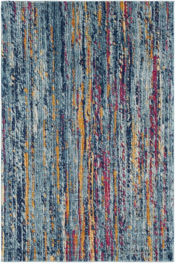 Teal, Dark Blue, Burnt Orange Contemporary / Modern Area Rug