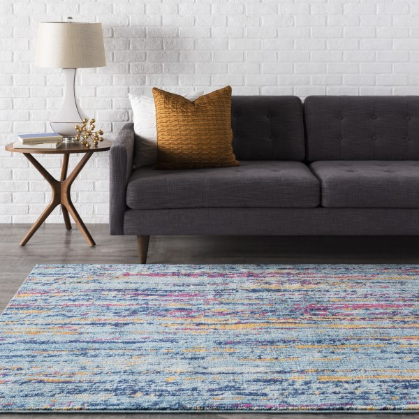 Teal, Dark Blue, Burnt Orange Contemporary / Modern Area Rug