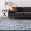 Product Image of Teal, Dark Blue, Burnt Orange Contemporary / Modern Area Rug