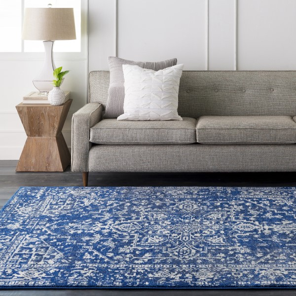 Beige, Dark Blue, Teal Vintage / Overdyed Area Rug