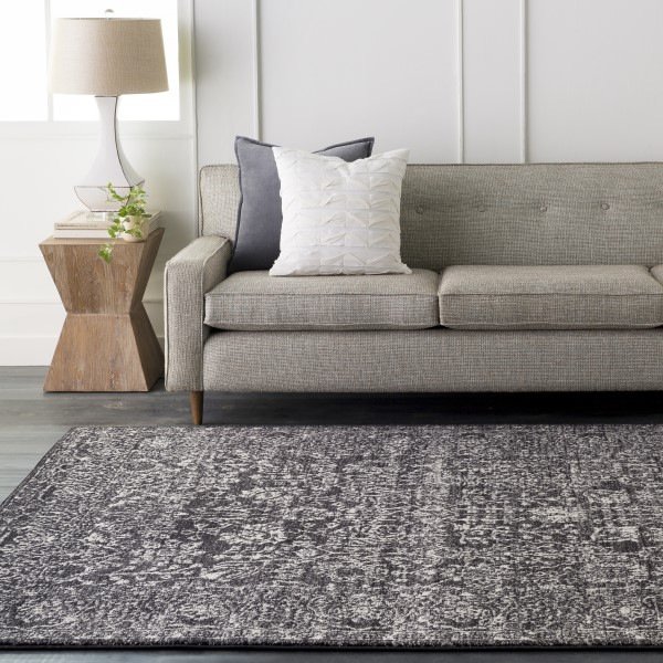 Light Gray, Black, Beige Traditional / Oriental Area Rug