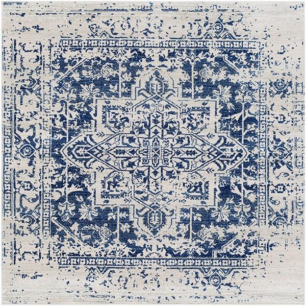 Beige, Light Gray, Dark Blue Vintage / Overdyed Area Rug