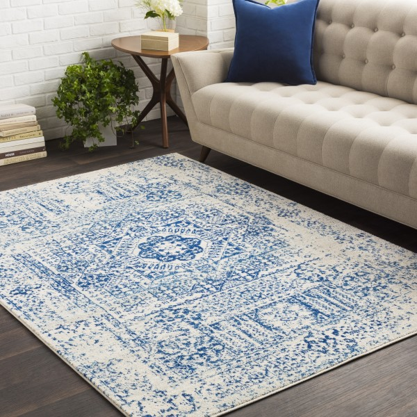 Beige, Dark Blue, Light Gray Vintage / Overdyed Area Rug
