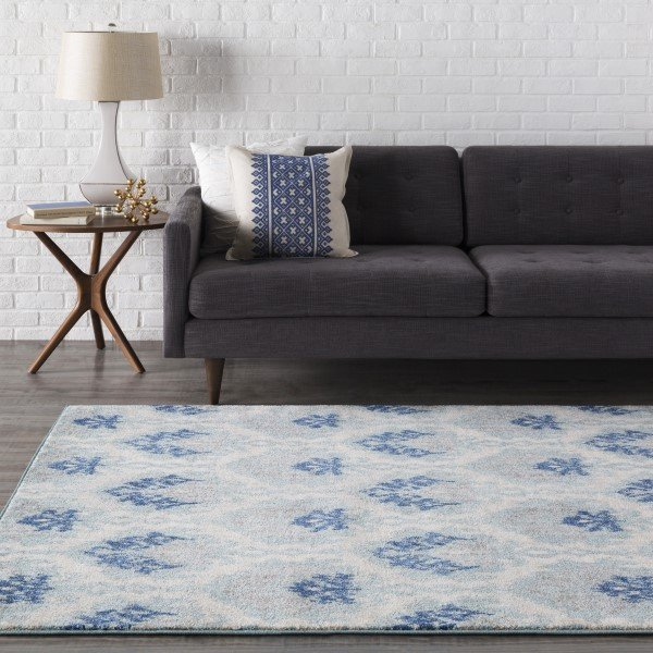 Light Gray, Teal, Dark Blue Traditional / Oriental Area Rug