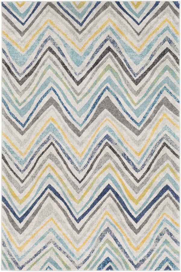 Light Gray, Yellow, Dark Blue Chevron Area Rug