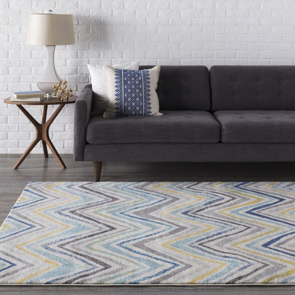 Light Gray, Yellow, Dark Blue Chevron Area Rug