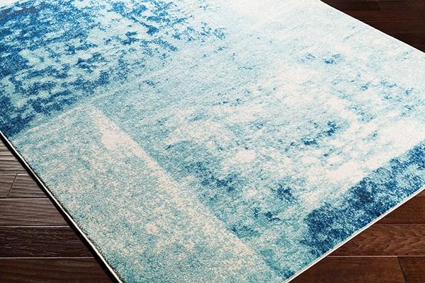 Teal, Dark Blue, Black Abstract Area Rug