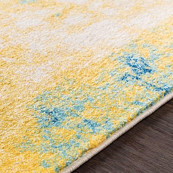 Saffron, Teal, Dark Blue Abstract Area Rug