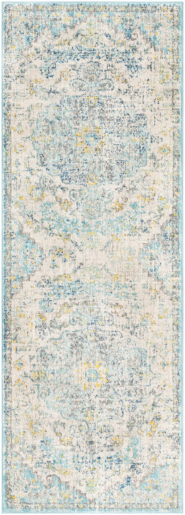 Beige, Saffron, Light Gray Vintage / Overdyed Area Rug