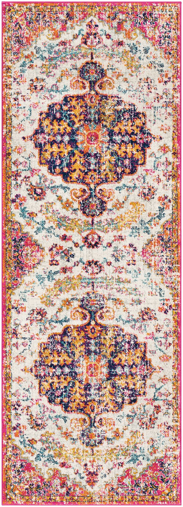 Beige, Saffron, Light Gray Bohemian Area Rug