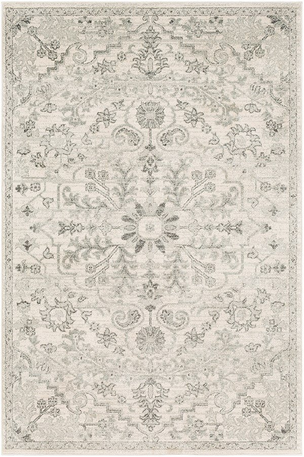 Light Gray, Charcoal, Beige Traditional / Oriental Area Rug