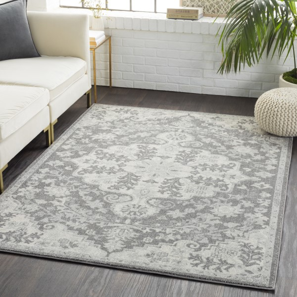 Black, Light Gray, Charcoal Traditional / Oriental Area Rug