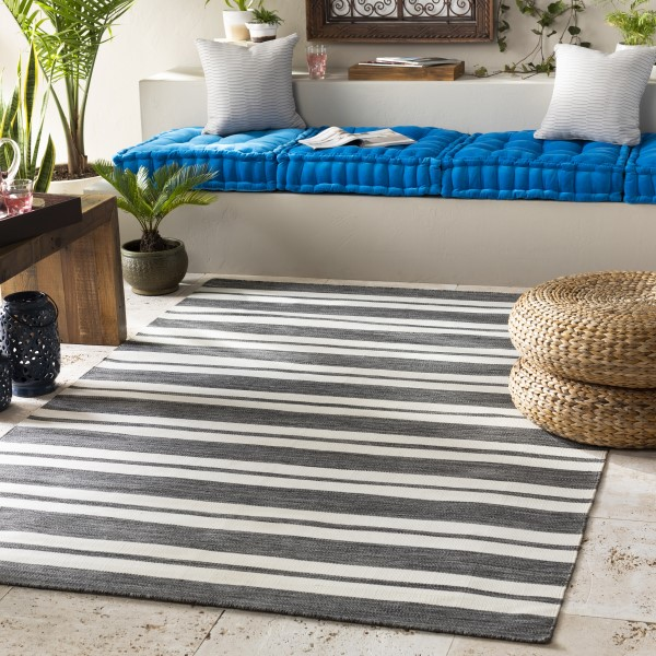 Light Grey, Black, Cream (EVR-1000) Outdoor / Indoor Area Rug