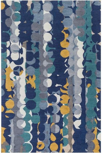 Dark Blue, Teal, Medium Gray, Pale Blue (INM-1005) Abstract Area Rug